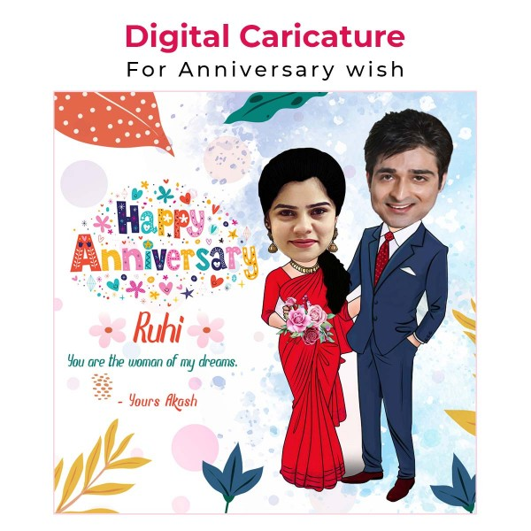 Personalised E-Caricature for Anniversary Theme 3
