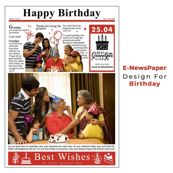 Personalised E-Newspaper for Birthday