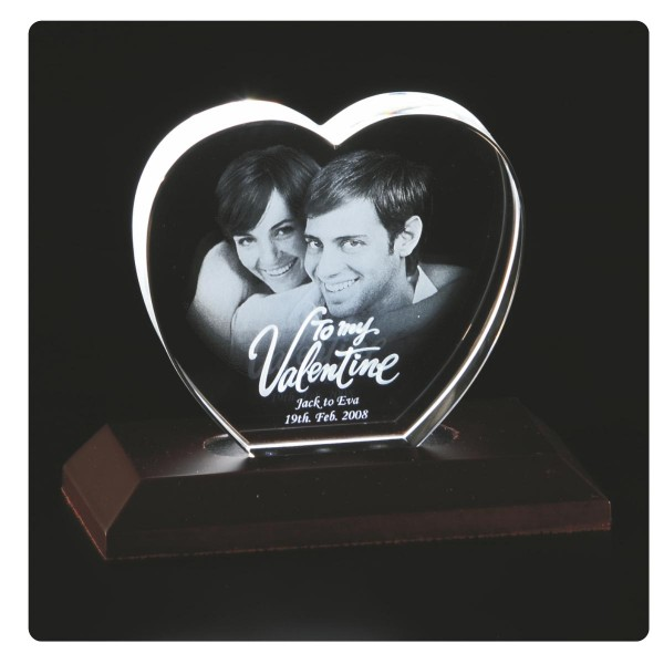 3D Heart Shaped Laser Engraved Crystal