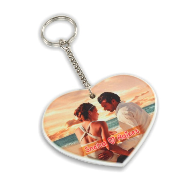 Custom Printable Fiber Key Chain-Heart Shape