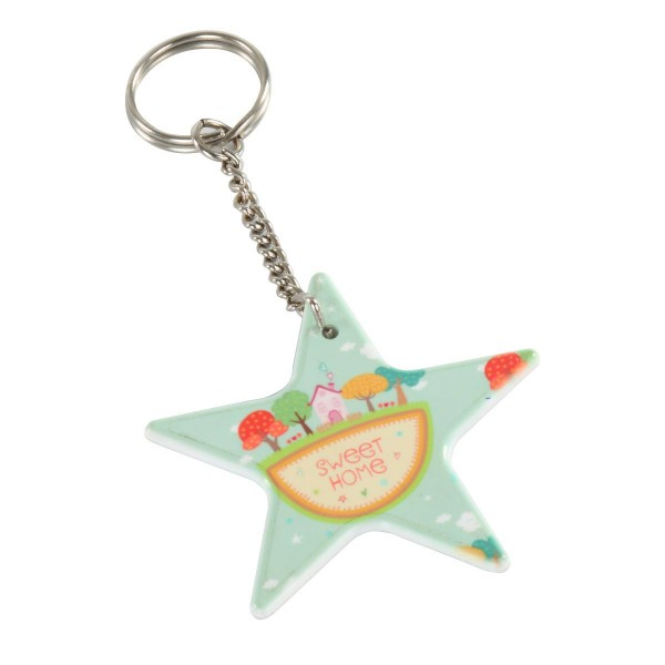 Custom Printable Fiber Key Chain-Star Shape