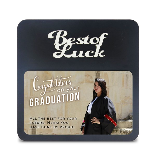Best Of Luck WOODEN PHOTO FRAME WITH FIXED TITLE P...