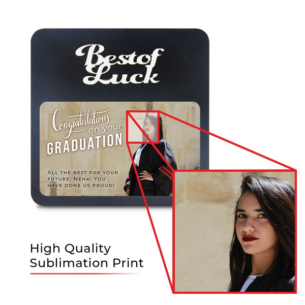 Best Of Luck WOODEN PHOTO FRAME WITH FIXED TITLE PLAQUE