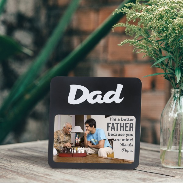 DAD WOODEN PHOTO FRAME WITH FIXED TITLE PLAQUE
