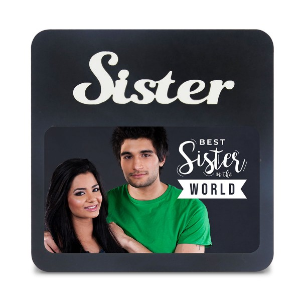 Sister WOODEN PHOTO FRAME WITH FIXED TITLE PLAQUE